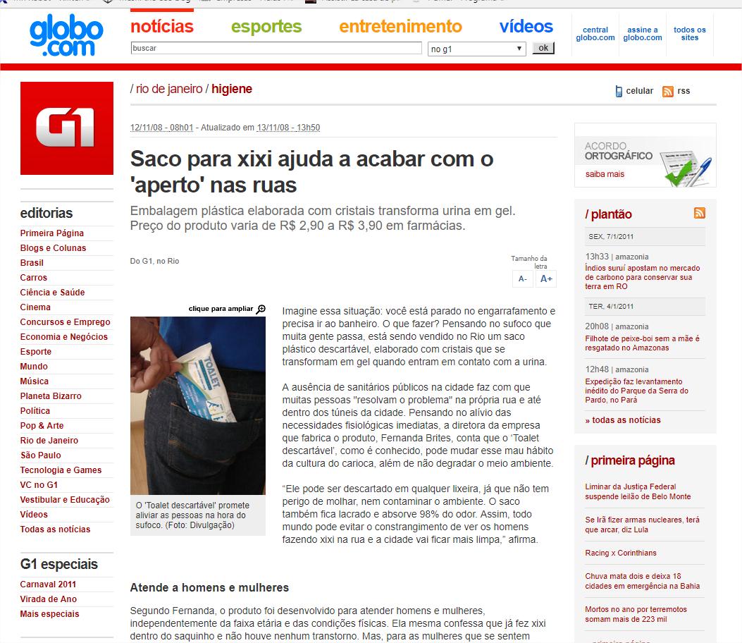 G1 – Saco para xixi ajuda a acabar com o 'aperto' nas ruas